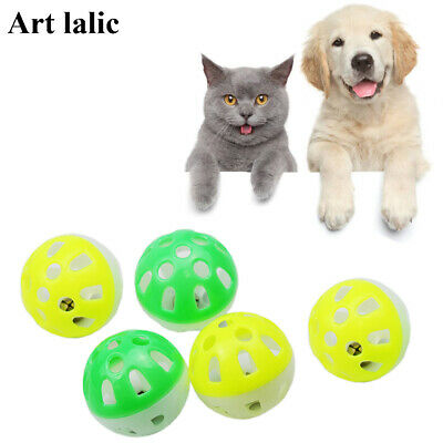 10Pcs Plastic Cat Kitten Pet Play Balls With Jingle Bell Pounce Chase Rattle Toy