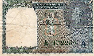 British India One Rupee 1940 Banknote George VI P25d Green Serial NO.L/87102282A