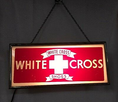 RARE Vintage White Cross Shoes Lighted Sign
