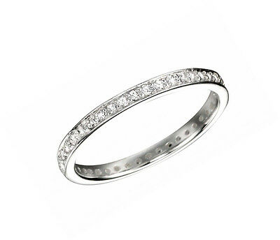 Sterling Silver Eternity Ring Pave Set Round Eternity CZ Silver Ring R2784C