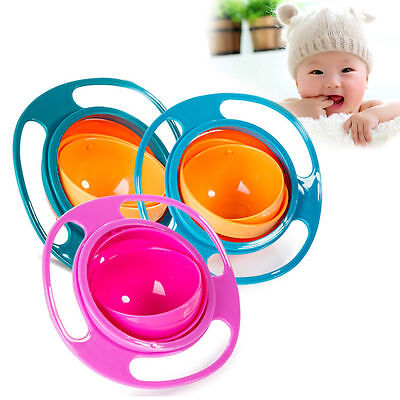 Baby Gyro Bowl Children Kids Bowl 360 Rotate Spill-Proof Bowl Dishes Lid New