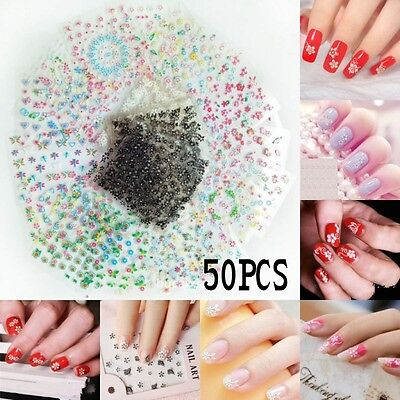 50 Planche Nail Art Water Decal Fleur Autocollant Pour Ongles Transfer Stickers