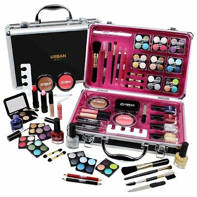 New Urban Beauty Professional Cosmetic Make Up Box Travel Vanity Case 57 Piece