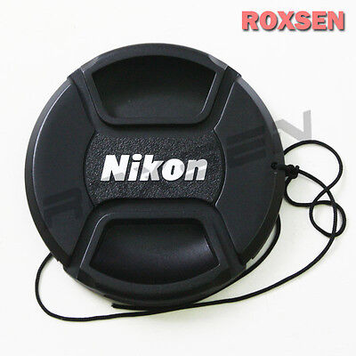 55mm Center Pinch Snap-on Front Lens Cap hood Cover for Nikon lens with Strap