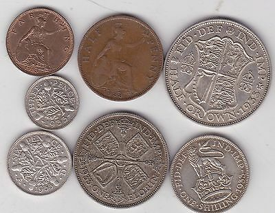 1933 George V Part Set Of 7 Coins In Good Fine To Extremely Fine Condition