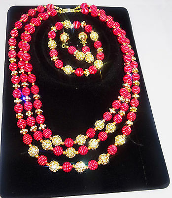 Latest Style Pink Beads Wedding Party Bridal with Rhinestone bead Jewellery Set