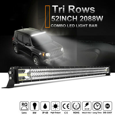 "52inch 1566W CREE LED Light Bar Work Combo Tri-Row Offroad 4WD Driving 50""/42"""