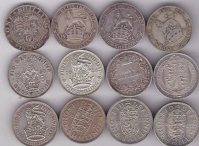 Type Set Of 12 Shillings Dated 1874 To 1965 In Fine Or Better Condition