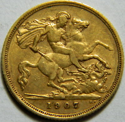 Deceased Estate 1907M King Edward VII Gold Half Sovereign Coin George Reverse