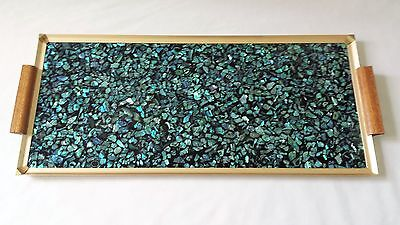 Lovely Vintage C1960's Paua Shell Serving Tray With Teak Handles - New Zealand