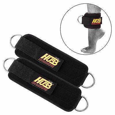 Ankle D-Ring Pulley Cable Attachment Thigh Leg Weight Lifting Straps Pair Hg-601
