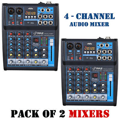 Pack of (2) Pyle PMXU43BT BT 4Ch Studio/DJ Controller Audio Mixer Console System