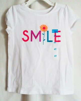Girls 4T White Colorful Smile  S/s Cotton Shirt Nwt ~ The Children's Place