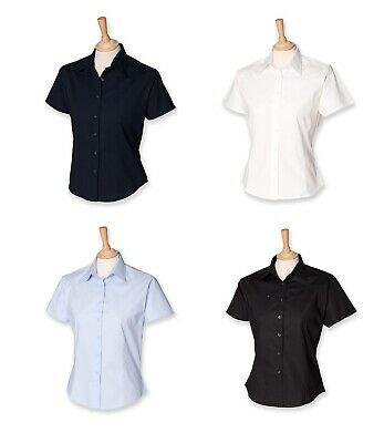 Ladies Stretch Short Sleeved Blouse Shirt Black White Blue Navy RRP - 17.99 H540