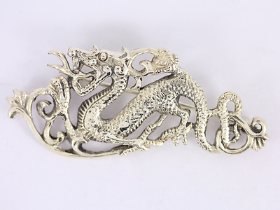 Dragon Brooch Sterling Silver Ladies Gents Vintage 925 9.3g SS20