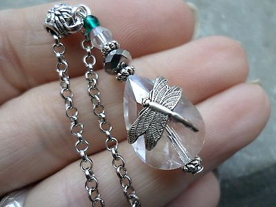 PRETTY ART Nouveau DRAGONFLY Silver Crystal Emerald Green Pendant Necklace GIFT
