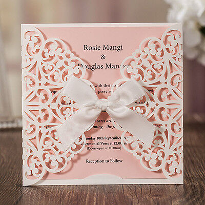 CW6177, White Laser Cut Flowers Tie Pink Sheet Square Wedding Invitations Cards