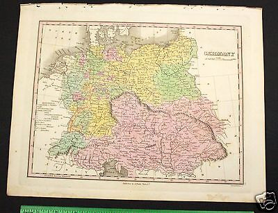 Orig Antique Map 1827 GERMANY AUSTRIA - Hand Colored Old Locations A Finley