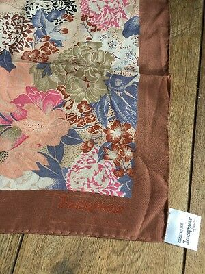 Vintage Jacqmar Hand Rolled Silk Scarf.  Mint.  30 X 30 Inches.  Superb!