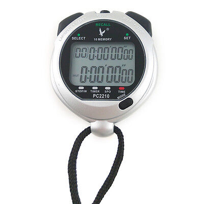 PC2210 2 Rows 10 Memories Digital Chronograph Time Counter Sports Stopwatch