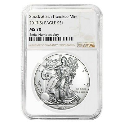 2017 (S) 1 oz Silver American Eagle $1 Coin NGC MS 70