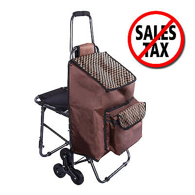 Trolley Wheeled Shopping Bag Cart w Folding Chair Grocery Stair Climbing Laundry