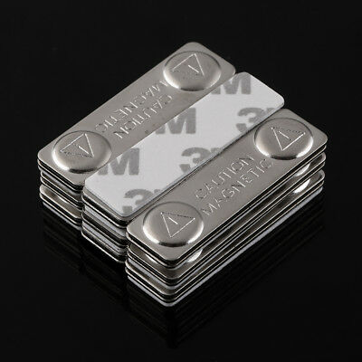 10 x Metal Strong Magnetic Name ID Tag Badge Fastener Holder Card Tag 45X13mm