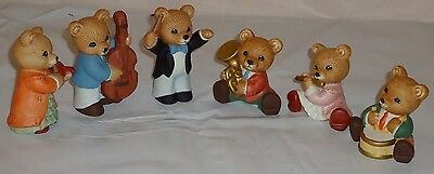 Homco ORCHESTRA BAND BEARS w/Instruments set of 6 Figurines