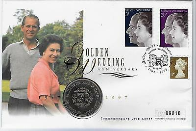 Gb 1997 Commemorative Mercury Coin Cover With 1947-1972 Crown Golden Wedding