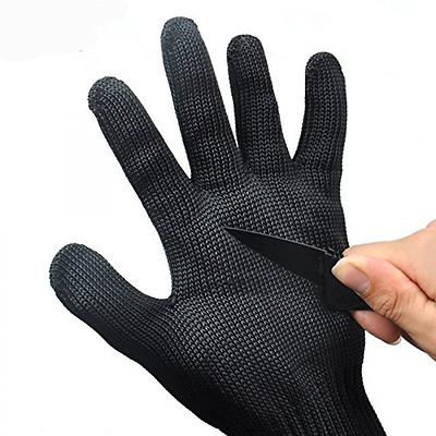 Best Stainless Steel Mesh Working Gloves Wire Chainmail Cut Resistant Black NEW
