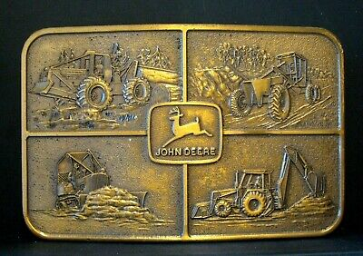 John Deere Construction Skidder Crawler Grader Backhoe Tractor Belt Buckle  1974
