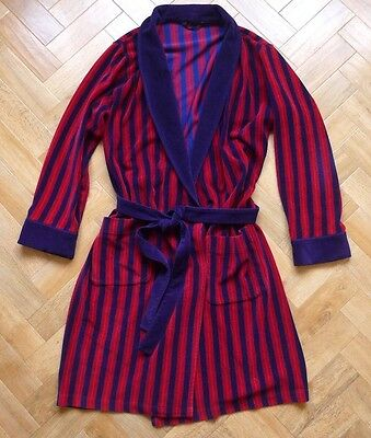 Vintage M&S navy blue & red soft towelling dressing gown smoking robe M - L