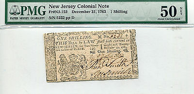 1763 New Jersey Colonial Note 1 Schilling AU-50 Net PMG Certified