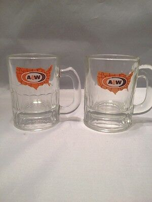 Vintage Glass A&W Root Beer Baby Mug Set Of 2