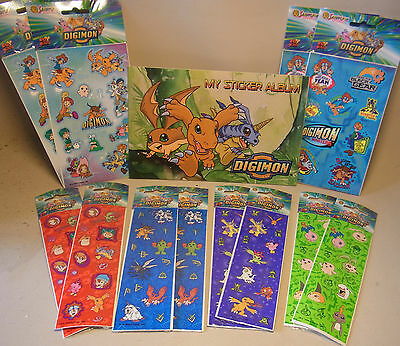 Manga / Anime Merchandise Digimon STICKER ALBUM mit 12 Sticker Sheets 2000 OVP