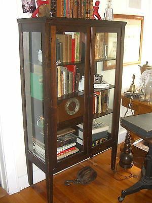 Antique Mahogany China Cabinet 3 Shelves w/ 3 sides glass c. 1930's Depression