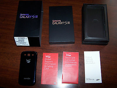 Samsung Galaxy S3 empty box with OEM Hardback phone case, and verixon booklets