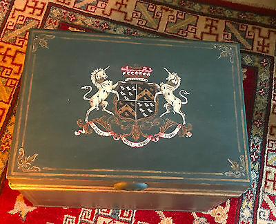 !!! LARGE Highly Decorative Document or Deed  Metal Strong Box Unicorn Details!!