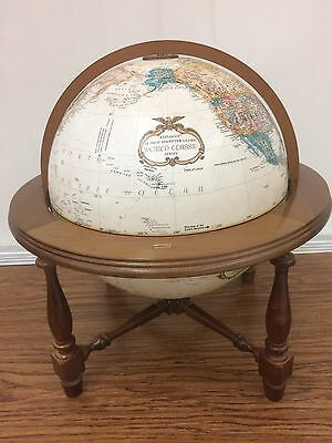 "Vintage C. 1985 REPLOGLE 12"" DIAMETER WORLD CLASSIC SERIES GLOBE Nice Wood Stand"