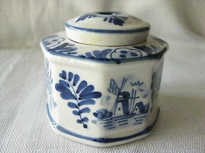 Antique Handpainted Delfts Blue Holland inkwell