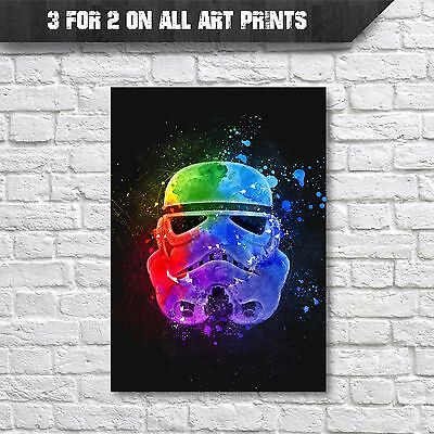 Stormtrooper Poster - Star Wars Abstract Watercolour Wall Art Print - A4 Prints