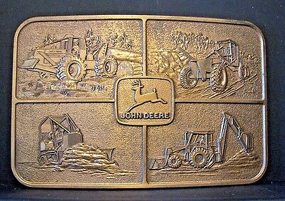 John Deere Construction Skidder Backhoe Grader Crawler Belt Buckle  ECUADOR 1982