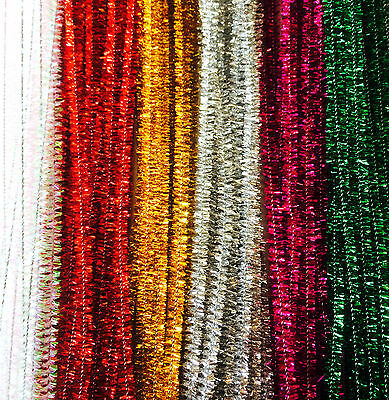 "10 Tinsel Pipe Cleaners Sparkling Stems 12"" 6mm Craft Choose Christmas Colours"