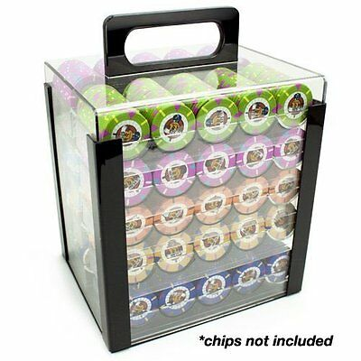 New Heavyweight Poker Chips - Set Of 1000 In Acrylic Case Trays Game Card Casino
