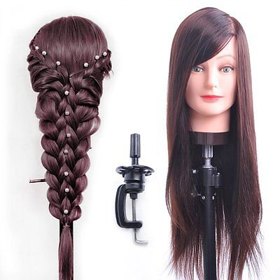 """26""""-28"""" Hair Styling Hairdressing Practice Head Training Mannequin Fibers Hold"""