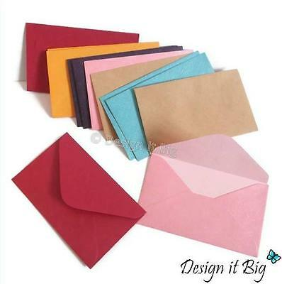 12x Small Envelopes Pearlised Coloured or Brown Kraft for Mini Cards - 10 x 6cm