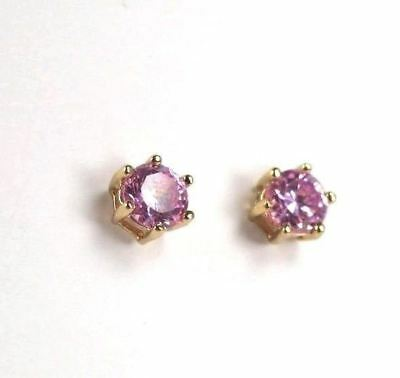 Imperial Pink Topaz gemstone 5x5mm, ladies earrings 9K Yellow (GF) E+1000