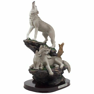 Beautiful Howling Wolf Family on a Rock Statue Decorative Lodge & Rustic Cabin