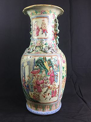 Large Antique Chinese Famille  Rose Vase Late 19Th Century