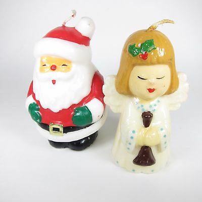Vintage Christmas Candles Santa Angel Wax Figures Figurines Decoration Holiday